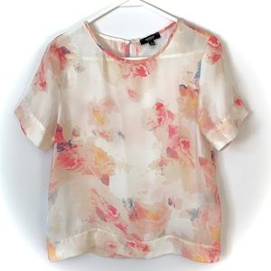 Short Sleeved Floral Blouse Pink Off White